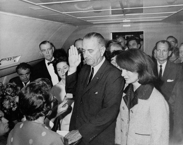 Johnson being sworn in aboard Air Force One November 22, 1963